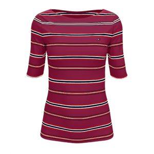 Camiseta Mujer Tommy Hilfiger Essential Stripe Boatneck Beet Red | Original