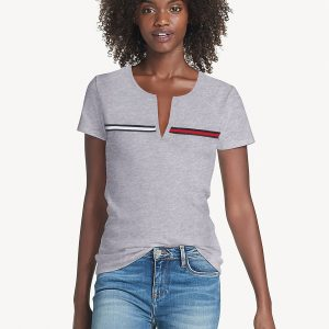 Camiseta Mujer Tommy Hilfiger T-Shirt Essential Split-Neck Grey Heather | Original