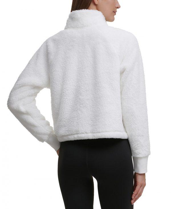 Buzo Mujer Calvin Klein Performance Pullover Fleece 1/4 Zip Cropped Sweatshirt White | Original