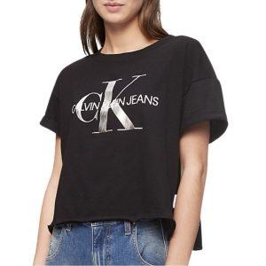 Camiseta Mujer Calvin Klein Metallic Monogram Logo Boxy T-Shirt Black Silver   Original.
