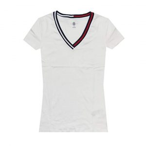 Camiseta Mujer Tommy Hilfiger T-Shirt Essential Split-Neck White   Original Copia